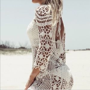 Other - White Lace Crochet Beach Coverup